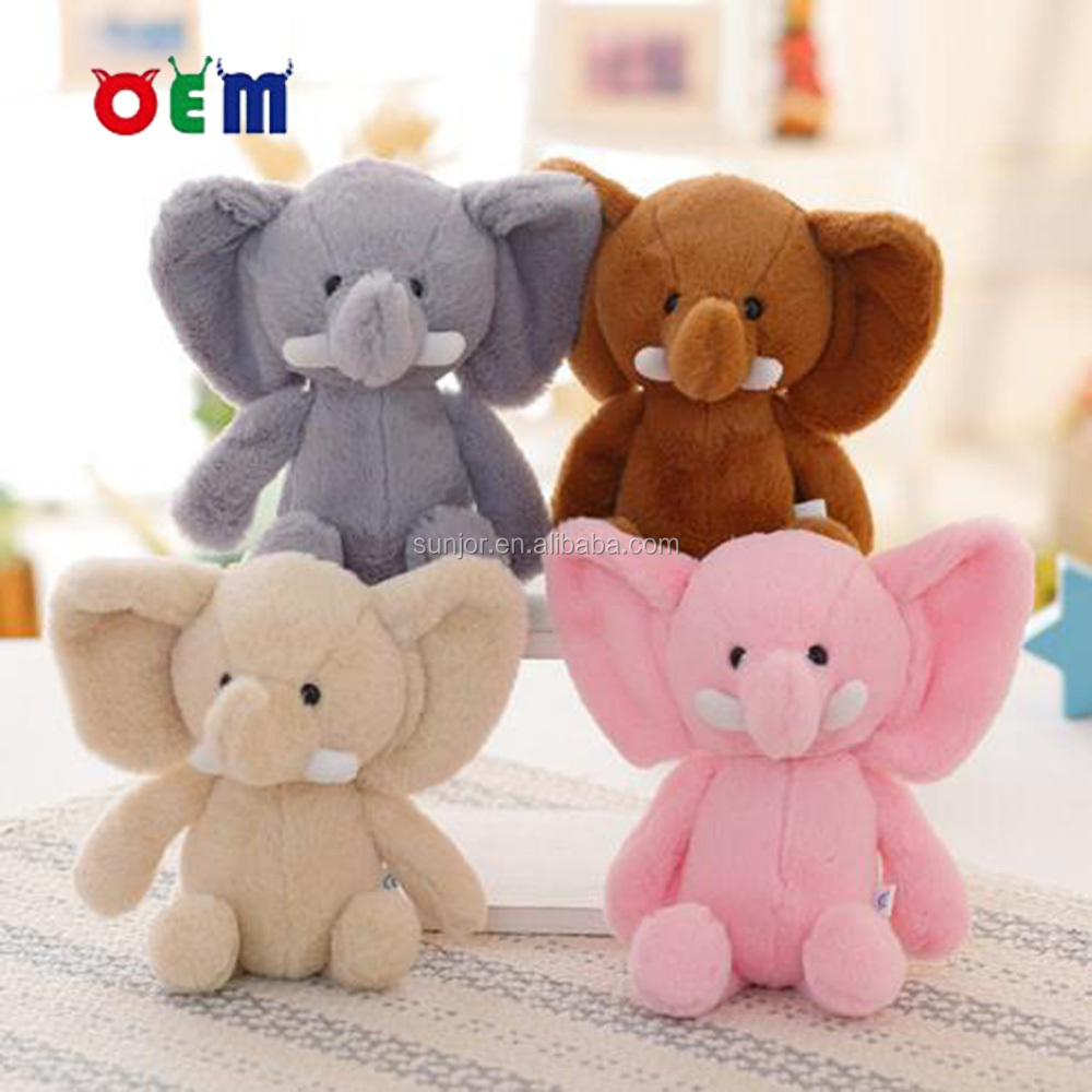 Soft Stuffed Wild Animal Toy Cute Plush Colorful Elephant With Big Ears