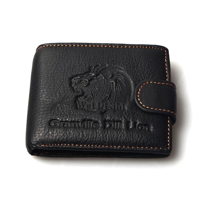 2015 New 2 Colors Vintage Purse Men Wallets Brand Genuine Leather Granville Bill Lion's Head Retro Wallet For Clutch Coin Purses