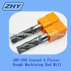 ZHY High hardness HRC60 solid carbide 4Flutes coated roughing end mill tool cutters