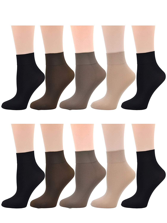 3b262aeb5 Get Quotations · Ladies Women's 10 Pairs Pack Nylon Ankle High Short Socks  Tights Hosiery Socks