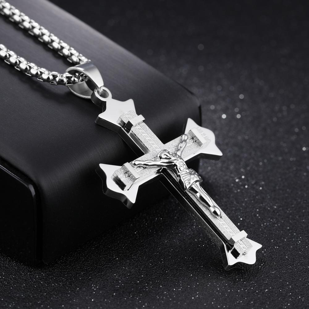 New Design Fashion Stainless Steel Jewelry Men Jesus Cross Necklace