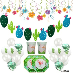 Tropical Leaves Latex Balloons Plates Green Cactus Plant Banner Party Hawaiian Party