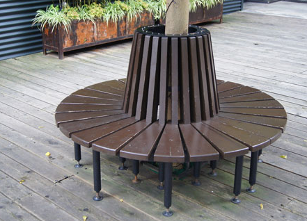 Round Outdoor Stainless Steel Seating Bench around Tree