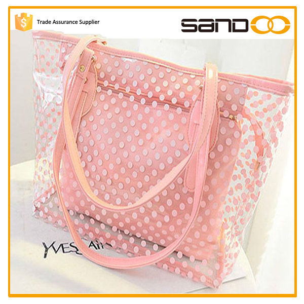 Women Transparent Spot Clear Jelly Shoulder Bag, handbags