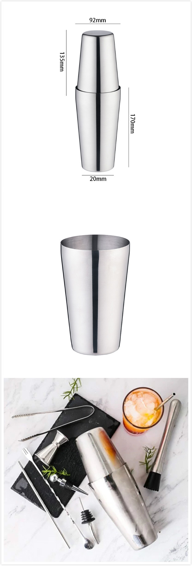 Professional Stainless steel bar tools Boston Cocktail Shaker