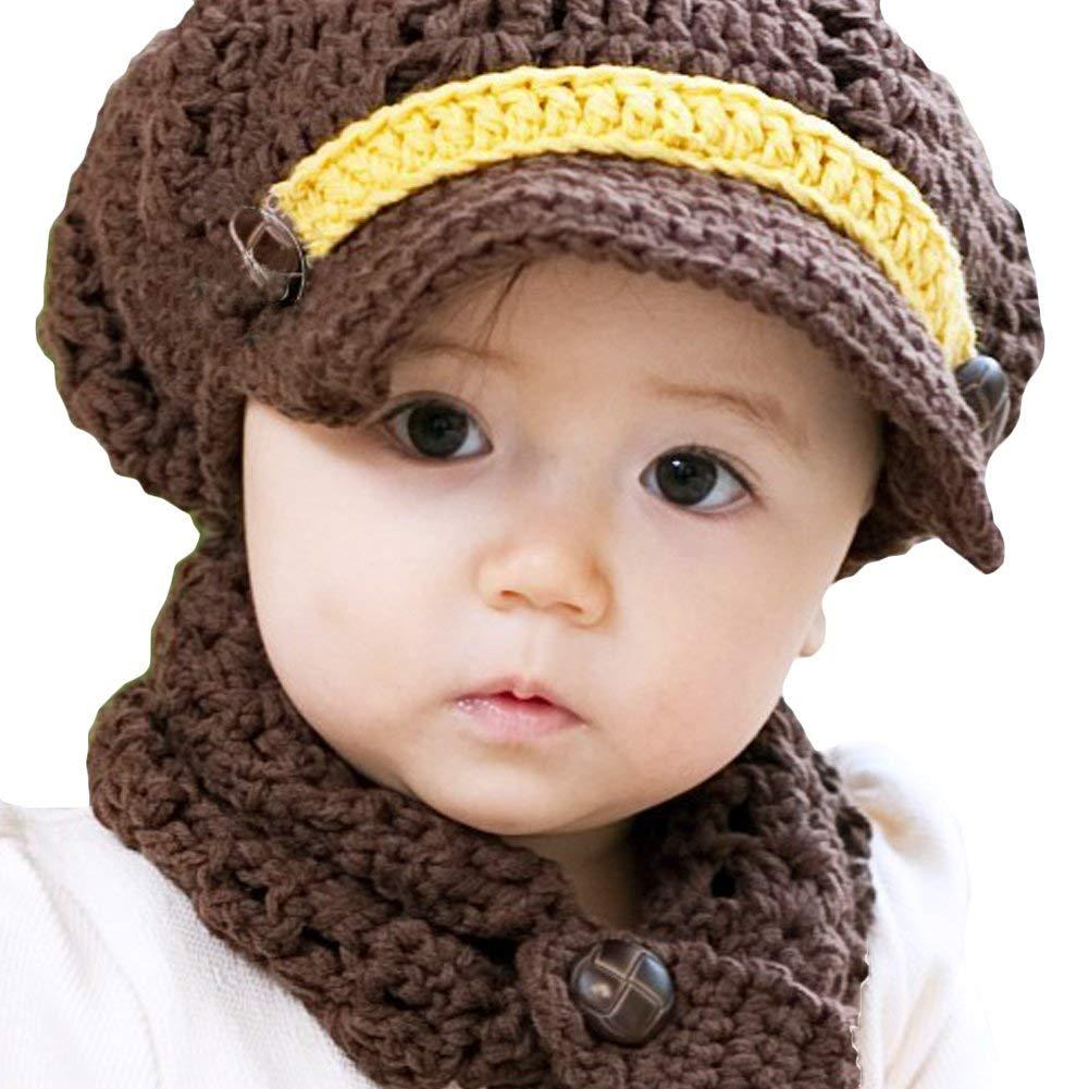 b151c243cd5ef Get Quotations · LOCOMO Baby Infant Boy Girl Knit Crochet Rib Beanie Brim  Hat Cap Warm FBA007