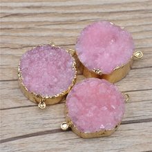 Pink Color Druzy Drusy Agate Pendant Connectors Nature Druzy Geode Stone Druzy Quartz Gold Plated Gemstone Pendant