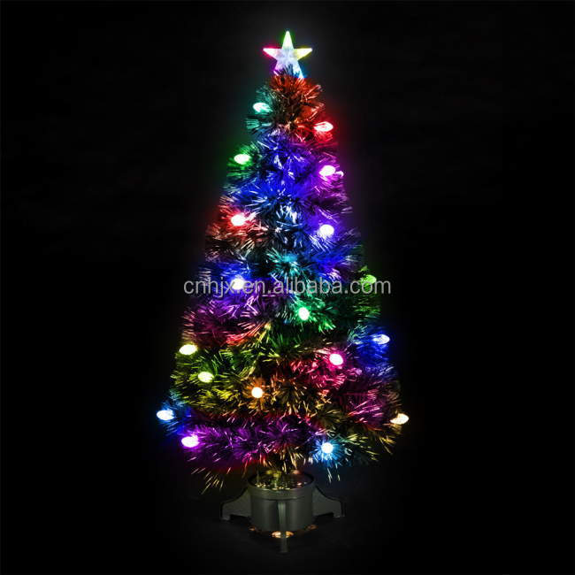 indoor kleurrijke vuurwerk pvc glasvezel kerstboom top ster verlichting plasticmetalen frame