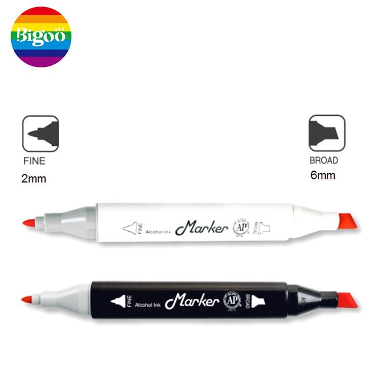 Dual tips twin art marker with triangle barrel of set 12pcs 24pcs 36pcs 48pcs 72pcs 168pcs use for color filling drawing pens