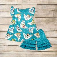 Newest Arrival Puffy Sleeve Baby Clothing Cute Little Girls Summer Outfits Kids Print Flutter Clothing Sets