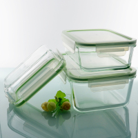 Eco friendly glass meal container with food grade plastic lid