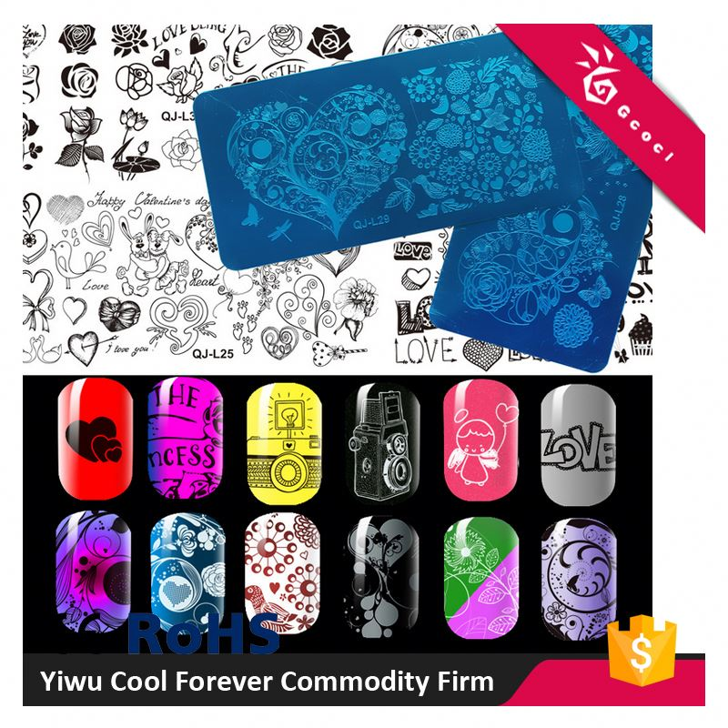 Best prices special design heart/flower shaped 3d nail art stamping plates