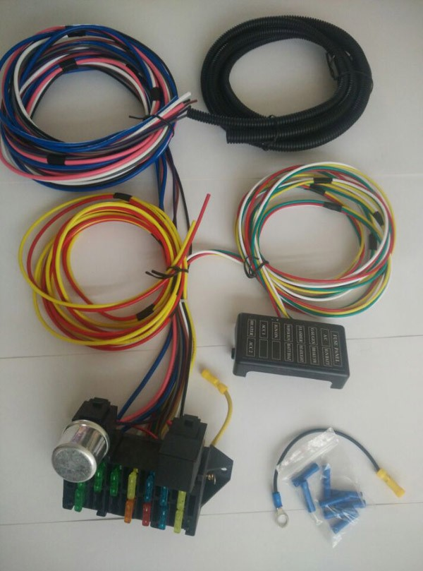 12v 12 circuit wiring kits spare fuse box universal hotrods wire harness