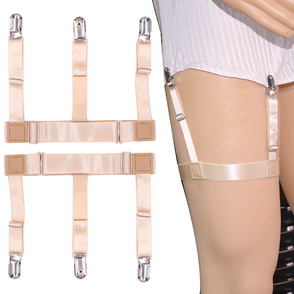 Men's Accessories Men's Suspenders Supply 1 Pair Elastic Solid Nisex Shirt Fixed Braces Band Suspenders Adjustable Garter Socks Non-slip Garter Clip Leg Ring Clip Belt