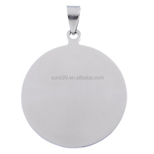 New Design Silver Tone Stainless Steel Blank Stamping Tags Round Charm Pendants With Bail
