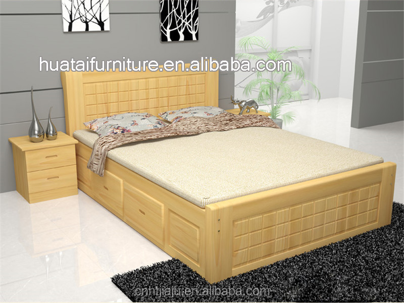 Pine Wood Bedroom Furniture #23: 1.5 Pine Solid Wood Pine Wood Log Lubricious Bed Double 1.8 High Box Storage Bed Solid