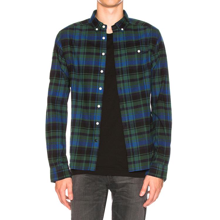 Favourites Blue Plaid Flannel Shirt for Men 100/% Cotton Long Sleeves