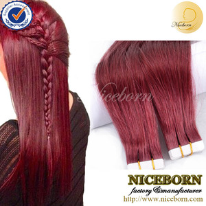#530 Plum/Cherry Red Cheap Tape Hair Extensions Natural Human Hair Extensions Silky Brazilian Virgin Hair Remy Tape Skin Weft