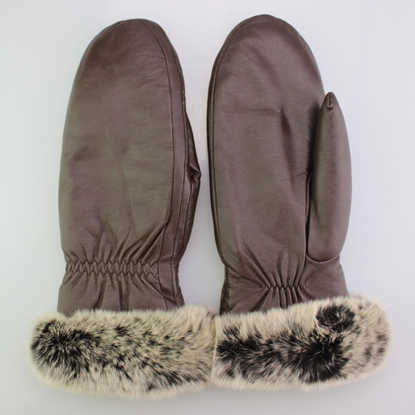 women brown rex rabbit fur cuff leather mitten glove