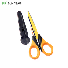 "SC020P 5-1/4"" Chinese Yellow blade titanium colorful student scissors with cover"