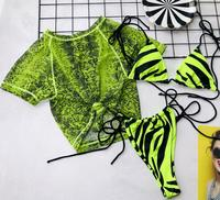 STOCK Two Colors Snake Print Sheer Mesh Top 3 Pieces Beachwear Zebra Double Lined Fabric Seamless Swimwear