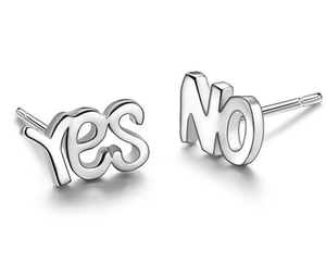 Latest yes no Style silver earring 925 sterling silver earrings