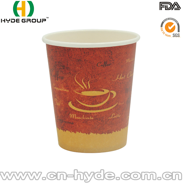 7OZ Wholesale Disposable Printed Single Hot Waxed Paper Cup