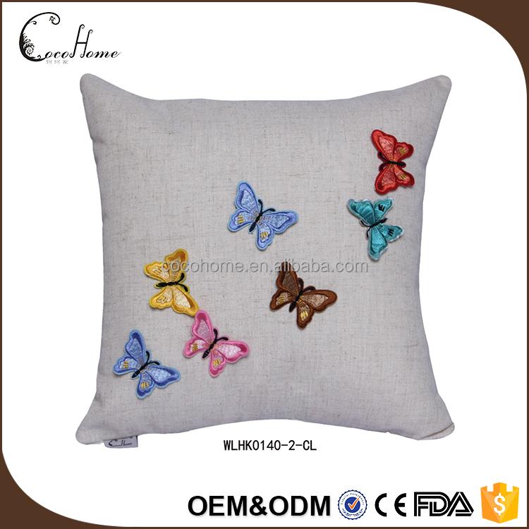 Hot Sale Hand Embroidery Cushion Cover Square Wholesale Plain Linen