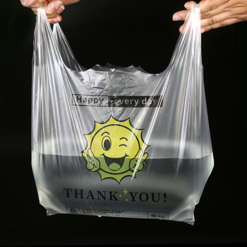 50PCS/PACK Multiple Sizes Available PVC Transparent Bags Shopping Bag Supermarket Plastic Bags With Handle Food Packaging