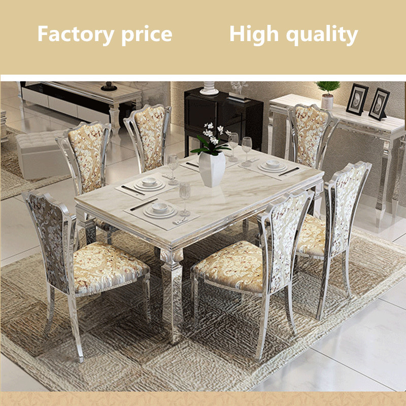 Dining Table Set Modern: Contemporary Modern Dining Set Stainless Steel Marble Top