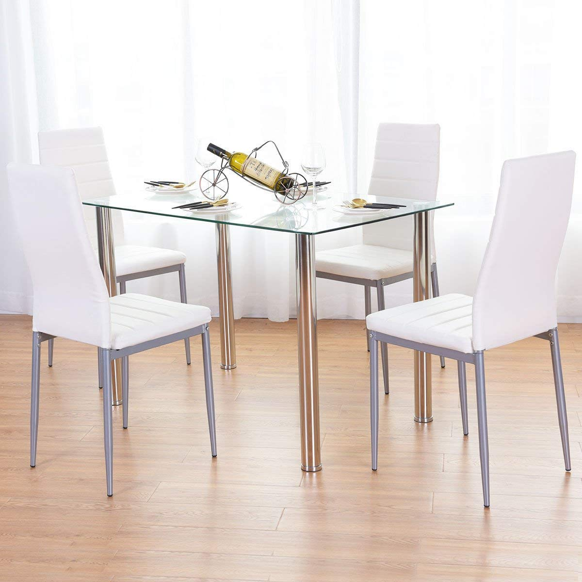 5 Piece Dining Set Table and 4 Chairs Glass Metal Kitchen Breakfast Furniture, Sturdy Tempered Glass and Powder-Coated Steel Construction, Last for Years to Come, Four Comfortable Sponge-Filled Stools