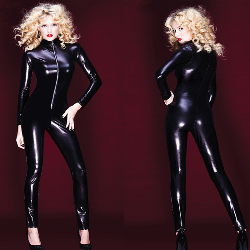 4 way zip wetlook sexy shiny black stretch pvc look catsuit catwoman free