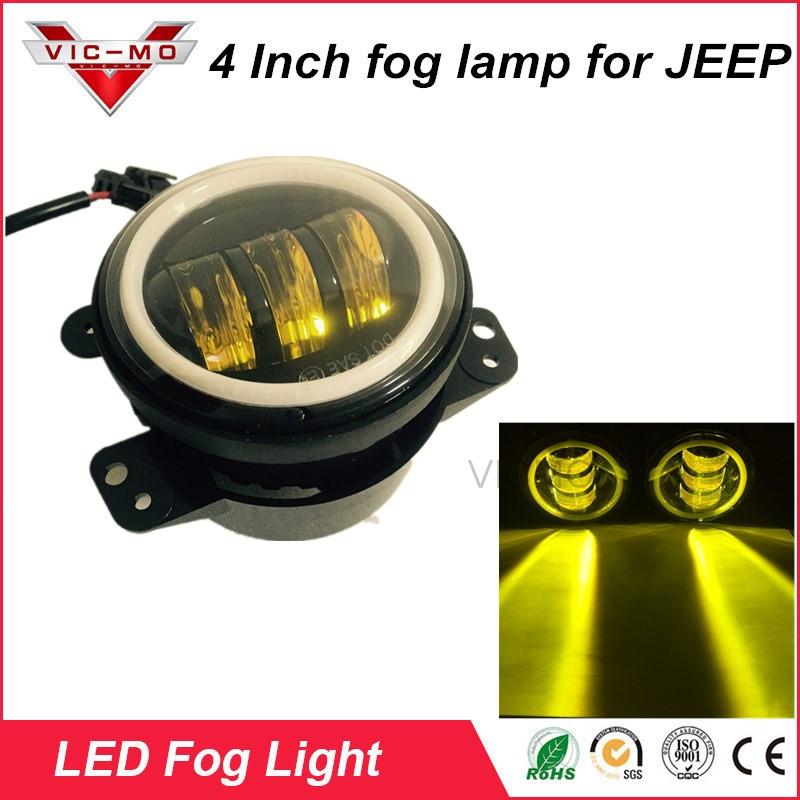 W K Pcs Inch Round Led Fog Lights White Halo Font B Ring B Font Drl on Off Road Dodge Caliber Kits