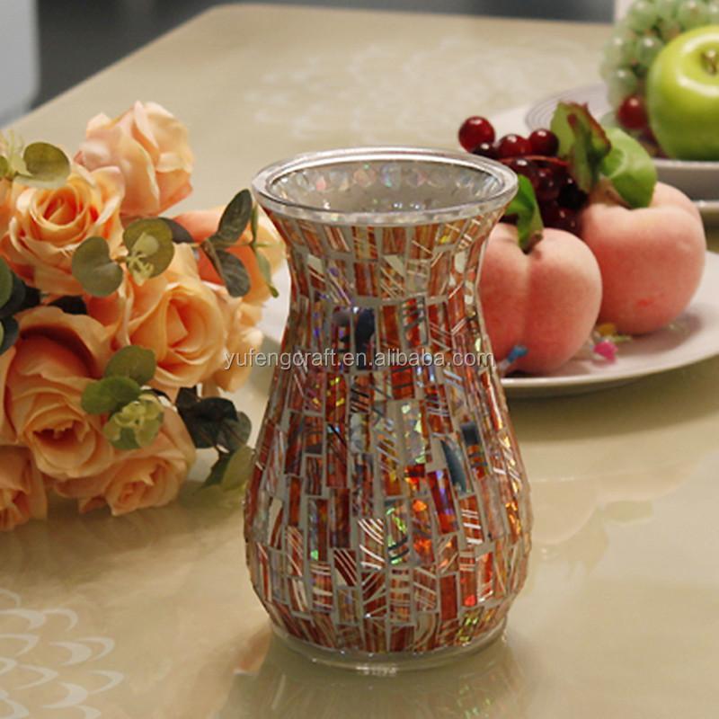 altura mosaico de vidrio florero flores secas decoracin del hogar