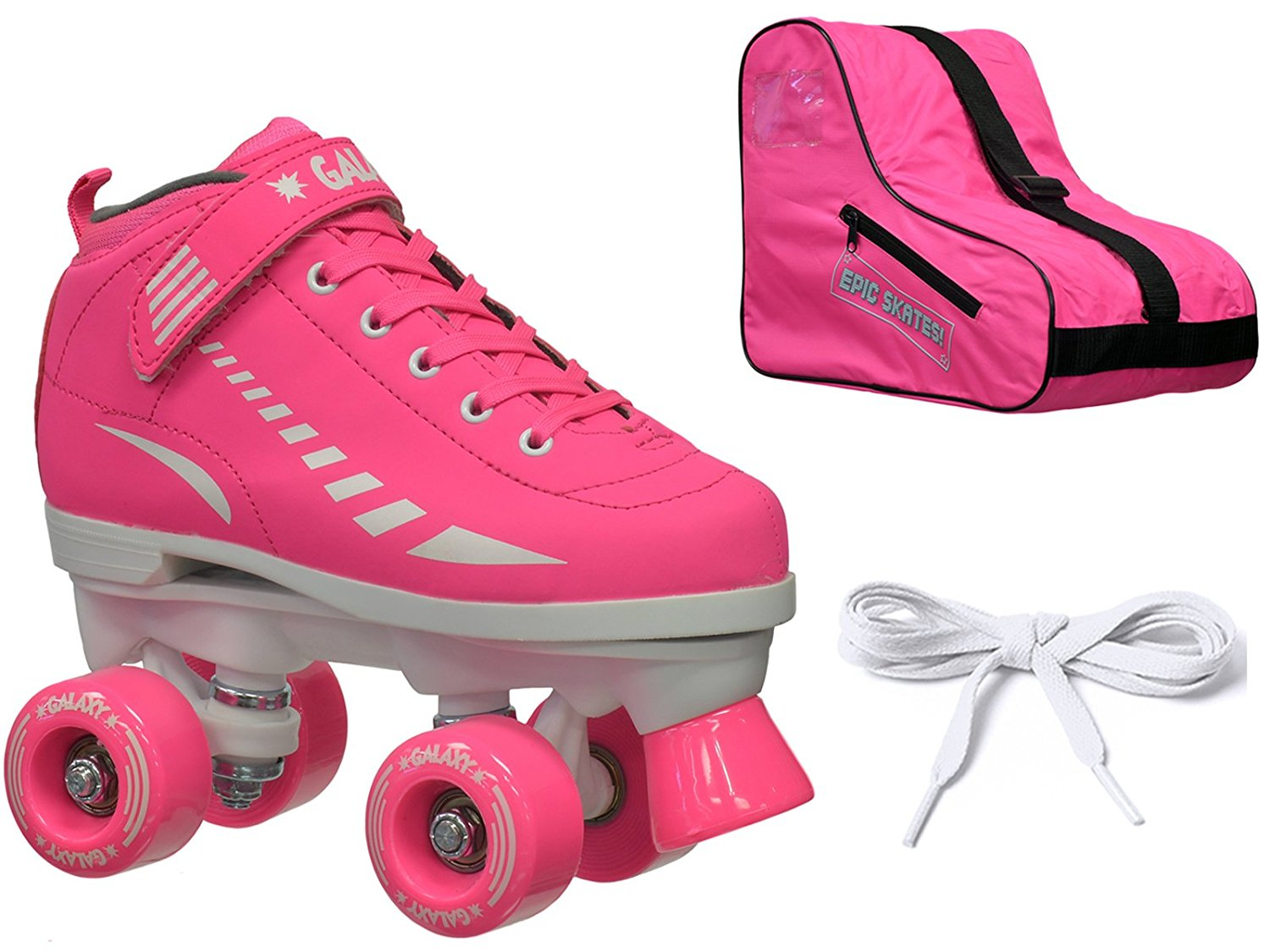 New Epic Galaxy Elite Pink Quad Roller Skate 3 Pc. Bundle w/ Bag & Extra Laces (Pink & Black)!