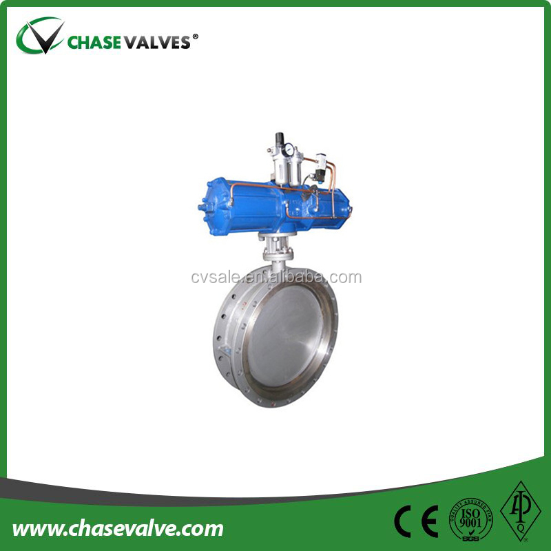 Api609 Pneumatic Operation Flanged Triple Eccentric Butterfly ...