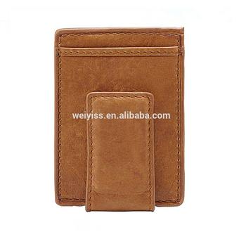 handmade genuine leather mens money clip credit card holder wallets slim leather money clip wallet - Mens Money Clip Credit Card Holder