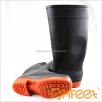 Guangzhou factory PVC material rubber rain boot usa and pink long safety shoes steel toe manufacturer SA-9912