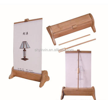 Good Design Bamboo Tabletop Roll Up Stand /mini Roll Up Banner