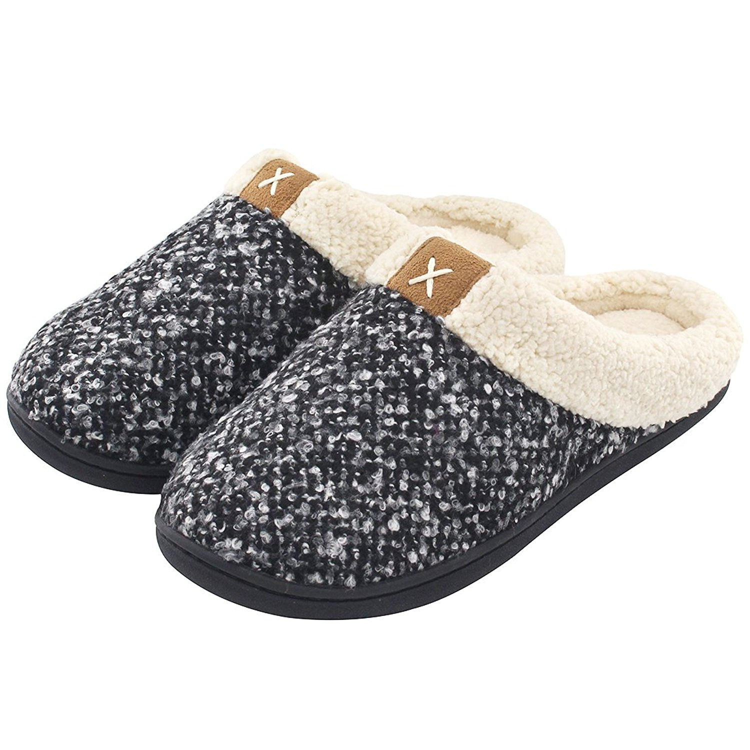 Women's Cozy Memory Foam Slippers Fuzzy Wool-Like Plush Fleece Lined House Shoes w/Indoor, Outdoor Anti-Skid Rubber Sole