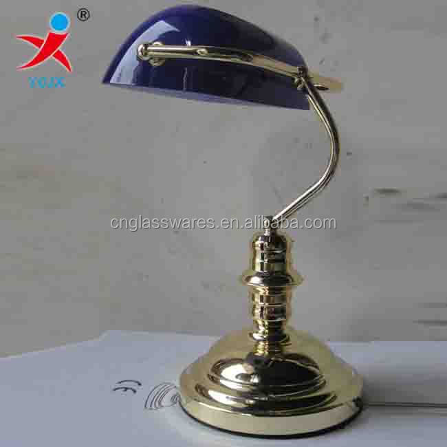 Bankers Blue Glass Desk Lamp Shade