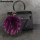 New Design Cute Fahion Puff Ball Fur Keychain And Real Fur Pompom With Snap