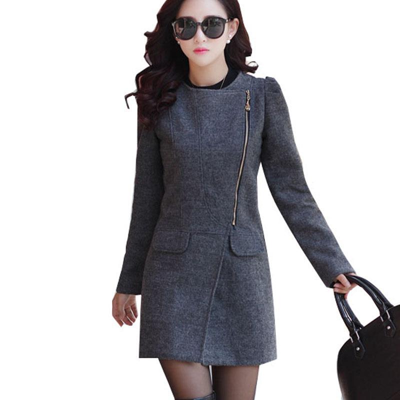 a499192b7c0 Get Quotations · 2015 new fashion women winter coat long sleeve slim long  coats women plus size wool blend