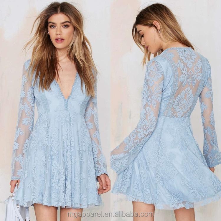 Latest Girls Fashion Desgins Dress Mesh Long Sleeve Dress Flower ...