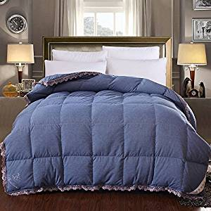 Bedding Quilt Duvet Comforter 95% Duck Down Quilt Washed Cotton Silk White Duck Down Winter Was The Core Thickened Keep Warm Feather Quilt Queen 200X230Cm