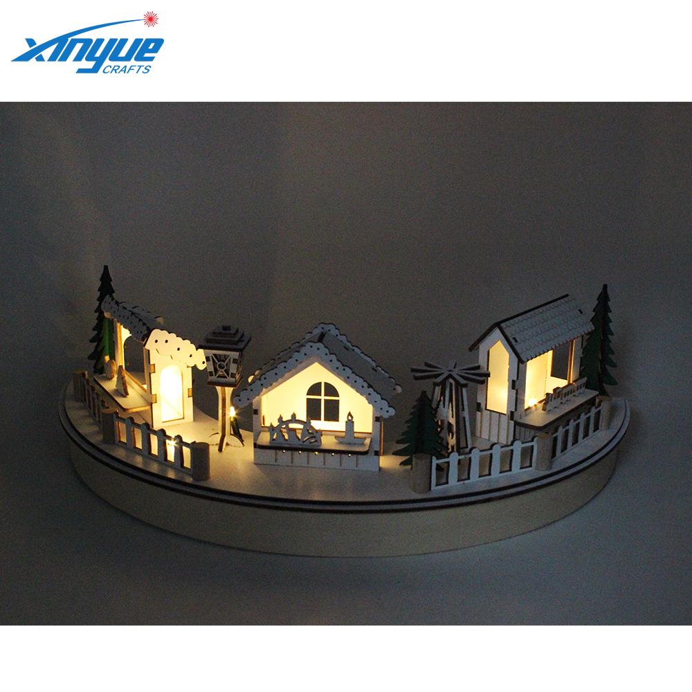 dd1c868d613 2018 barato decoración de Navidad Natividad conjunto con mesa de madera  luces Led