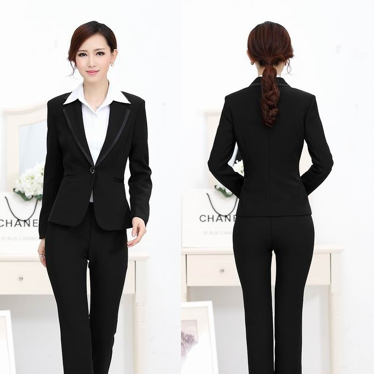 41cbfa389db9 Get Quotations · Formal Pantsuits Women Blusienss Suits Work Blazer Sets  Elegant Ladies Office Uniform Styles Free Shipping