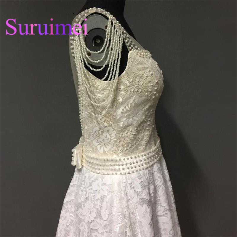 2017 Free Shipping Short Prom Dresses with Pearls Scalloped Neck formal evening gowns robe de soiree