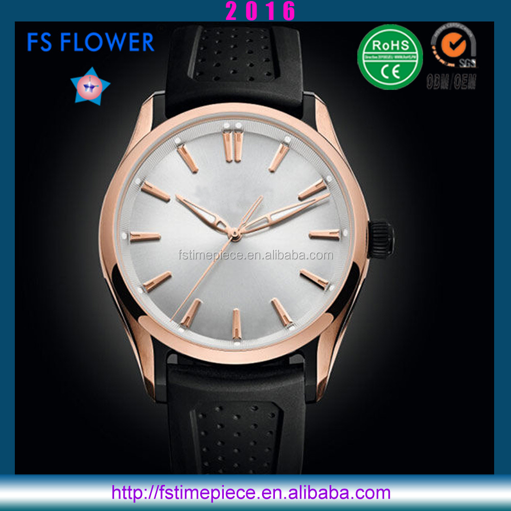 FS FLOWER - 2016 Luxury Men Watch High Quality Unique Design Silicone Watch Strap Quartz Movt Stainless Steel Case Back Watch