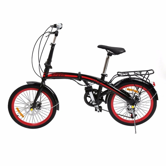 20 Inch 6 Variable Speeds V Brake Folding Bikes Foldable Road Bicycle Shock Absorption Bike For Men And Women